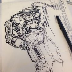 Rough sketching while thinking #sketchaday #idsketching #robot #conceptart #scribble