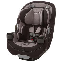Safety 1st Grow and Go 3-in-1 Convertible Car Seat can be used rear-facing, forward-facing or as a booster. This extended use car seat features a no re-thread harness, buckle holders, dual cup holders and a removable seat cover.
