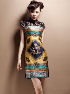 I WANT! Colorblock Chinese Qi Pao/Cheongsam Dress
