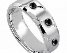 Mens Ring, Black Diamond, Men's Wedding Band, Diamond Wedding Band, Mens Wedding Ring, Black Diamond Band, Mens Engagement Ring,Comfort fit