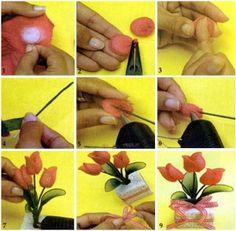 Tulipa com meia de seda