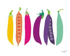 Kitchen art print - Peas - illustration, 8x10, wall art. $20.00, via Etsy.