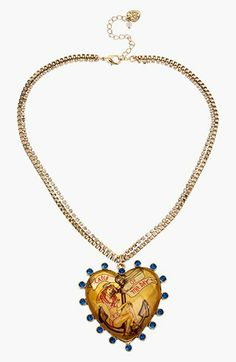 Betsey Johnson 'Anchor Boost' Heart Pendant Necklace available at #Nordstrom