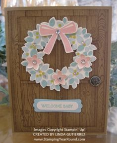 Wonderous wreath baby card