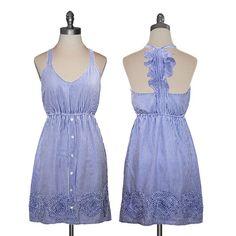 Judith March Blue Pinstripe Ruffle Dress... that back