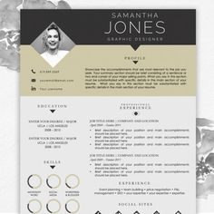 Resume Template for MS Word with Photo Samantha 1 Page