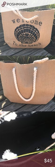 Selling this Burlap Beach Tote on Poshmark! My username is: hipfinds. #shopmycloset #poshmark #fashion #shopping #style #forsale #HipFinds #Handbags