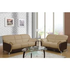 Shop for Cappuccino and Chocolate Two-tone PVC Modern Loveseat. Get free…