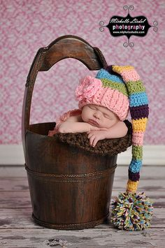 Crocheted Baby Girl Striped Elf Hat with Flower   by JCrochetShop, $26.99