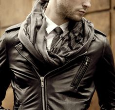 grey and black shemagh and leather #menswear http://www.pinterest.com/tiffanymcivor/mens-fashion-top-picks/