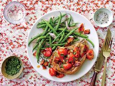 This recipe will remind you of how good a pork chop can be. While the pork chops roast in the oven, the savory pan gravy comes together quickly on the stove-top, making a company-worthy meal in under an hour. You can easily swap out the green beans … Pork Chop Recipes, Bacon Recipes, Cooking Recipes, Easy Recipes, Panini Recipes, Pork Meals, Keto Recipes, Healthy Recipes, Bacon Gravy