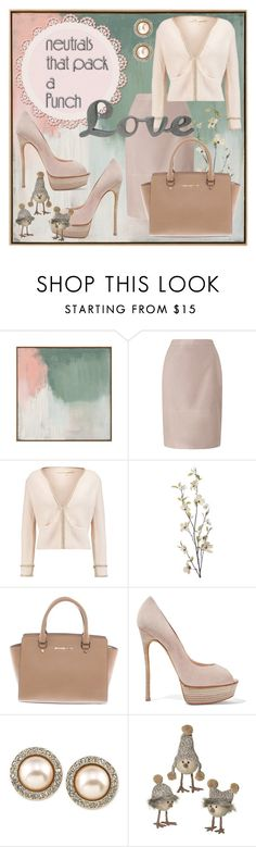 """""""Love Neutral Style"""" by michele-dickinson ❤ liked on Polyvore featuring Pori, Jacques Vert, Maje, Pier 1 Imports, Michael Kors, Casadei, Carolee, Grasslands Road and neutrals"""