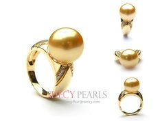 11.0mm-12.0mm Golden Cultured South Sea Pearl Ring - 18k Solid Gold Ring Setting with Diamond Accent