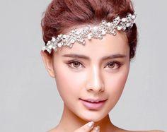 Rhinestone Headband with Faux Pearl, Wedding Headband, Bridal Headband, Wedding Accessories, Bridal Headpiece