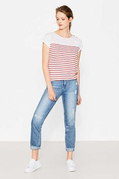 EDC / T-shirt mix de matières, 100 % coton