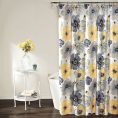 Yellow Bathroom Decor really cute gray and yellow bathroom, with vintage-style floral