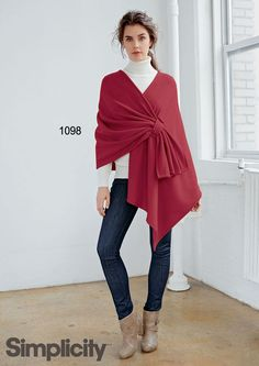 Add a pop of color to your fall wardrobe! Make this easy, no-sew fleece poncho. #ponchos