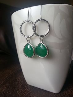 Framed stone emerald bezel earrings with silver by TheCoralDahlia, $18.00