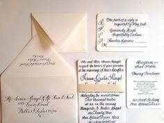 Custom Calligraphy Letter Press Invitation Suite by BPinvites, $125.00