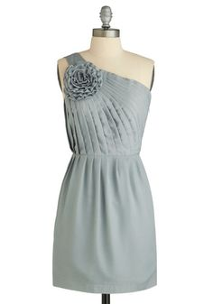 Stat-ue Look Lovely Dress - Grey, Solid, Flower, Pleats, Ruffles, Party, Casual, A-line, One Shoulder, Short
