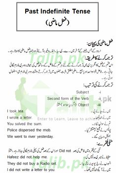 Past Indefinite Tense In Urdu To English Exercise Sentence Examples ,,