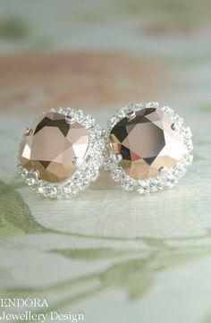 rose gold crystal earrings | rose gold wedding | rose gold bridal earrings | www.endorajewellery.etsy.com