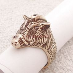 "Boar. Men's ring Wild Boar. Bronze Signet boar's head. Viking ring ""Wild Boar""."