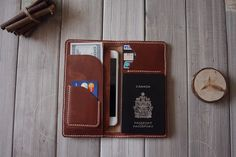 Hand stitched iPhone 6 Case Leather Wallet Air by CPScraftStudio