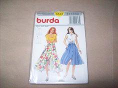 Vintage Burda Button Down Front Skirt, burda sewing Pattern 4343 by vintagecitypast on Etsy