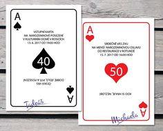 Hrací karty jako netradiční, vtipné pojetí pozvánek. Můžete využít pro různé příležitosti. Narozeniny, svatbu, ale třeba i na partičku karet. Presents, Humor, Gifts, Handmade, Deer, Hand Made, Cheer, Craft, Ha Ha