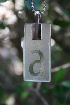 DIY etched monogrammed glass pendant