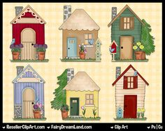 My Neighborhood Spring Time Digital Clip Art - Commercial Use Graphic Image Png Clipart Set - Instant Download - House Building Garden Tree