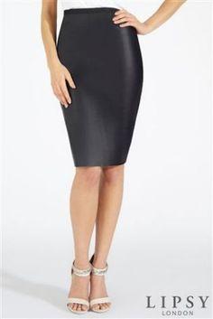 Lipsy PU Black Pencil Skirt - Leather Look
