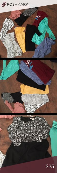 All tops for one price! Very cheap, I want to sale all of them bc I need to make space! I want to sale all of the tops. They're different brands, from target brand to H&M, forever 21, Hollister, Nordstrom, there is one romper from forever 21 never worn, one tank is blue polka dot one. All of the stuff have been worn like once. Oh and there's a gym top brand champion. Only one T-shirt is medium. The rest are small Hollister Tops