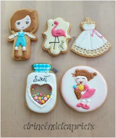 Galletas con glasa Sugar, Cookies, Sweet, Desserts, Food, Custom Cookies, Cold Porcelain, Crack Crackers, Candy