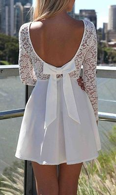 White Back Hollow-out Bowknot Lace Long Sleeve Dress