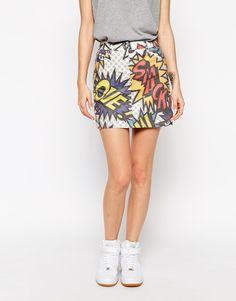 Image 1 ofLove Moschino Cartoon Print Mini Denim Skirt