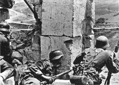 German machine gun element takes up position on the outskirts of Sevastopol in the Crimea. The siege and battle for control of this port city unfolded from Oct 1941 well into the summer of 1942, with the last Soviet resistance suppressed by the German on July 9.