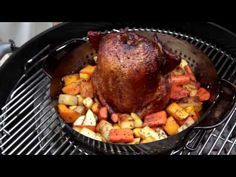 Gourmet BBQ Poultry System- makes it easy to roast vegetables and poultry at the same time.