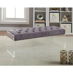 Shop for Meridian Jane Grey Velvet Bench. Get free shipping at Overstock.com - Your Online Furniture Outlet Store! Get 5% in rewards…