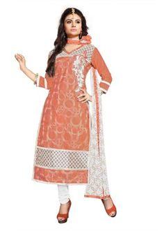 Eid Specialel Orange CHANDERI COTTON Churidar Suit - 1109