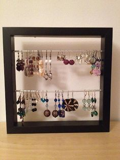 Love this earring stand made from a 1 ikea frame the frame came ikea picture frame earring storage make it yourself solutioingenieria Images