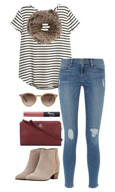 """burgundy cross body"" by kcunningham1 ❤ liked on Polyvore featuring H&M, Frame Denim, Augusta, Anna Kula, Ray-Ban, Tory Burch, NARS Cosmetics and EJandAKTakeDC"