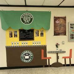 Starbooks Starbucks Read A Latte. School Library Displays, Middle School Libraries, Library Themes, Class Library, Library Activities, Elementary Library, City Library, Library Ideas, Classroom Themes