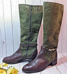 3405fbaabb2d E-Venezia Etienne Aigner 8 M Tall Riding Boots Suede Green and Brown