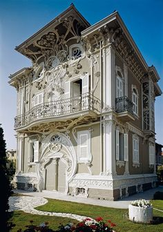 Villa Ruggeri aka Villino Ruggeri, Pesaro, Italy - 1907 - by Giuseppe Brega (Italian, - Style: Art Nouveau - Watsonette Dream house. I love the art nouveau era. Architecture Art Nouveau, Art Et Architecture, Beautiful Architecture, Beautiful Buildings, Architecture Details, Beautiful Places, Architecture Awards, House Beautiful, Residential Architecture