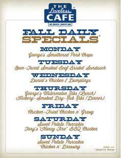 Loveless Cafe's Fall Daily Specials....favorite restaurant