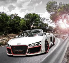Stunning White Audi R8 with red trim takes the risks! Check it out http://www.ebay.com/itm/2014-Audi-R8-V10-Spyder-By-Regula-Tuning-36X48-Poster-Car-Auto-/271424607728?pt=Art_Posters&hash=item3f322ad5f0?roken2=ta.p3hwzkq71.bsports-cars-we-love #spon
