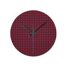 Dark Red Wall Clock!  #zazzle #store #pattern #gift #present #customize #simple http://www.zazzle.com/patternsbydww25921*