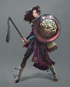 Asian Warrior Girl, Jin-hong Park on ArtStation at https://www.artstation.com/artwork/QZ9xB